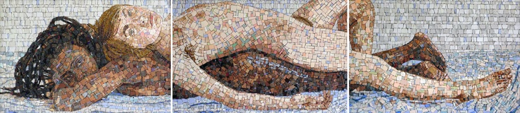 Caitlin and I, conceived by Zanele Muholi and produced by Spier Architectural Arts. Contemporary style mosaic - direct method, triptych size: 0.495 x 2.23m. 2012