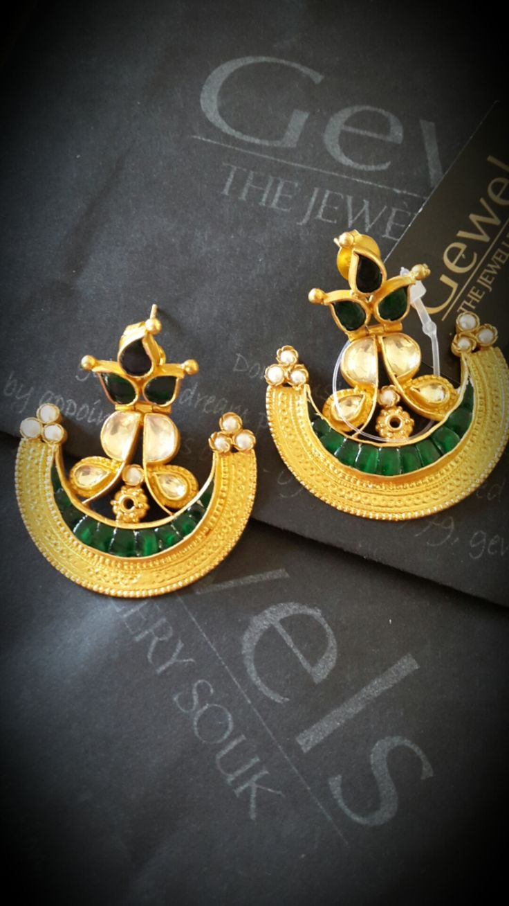 """Gorgeous texture gold chandbalis, enhanced with mother of pearl and green onyx semi - precious stones..isnt' this a unique chandbali? For purchase related details mail us on """"gewelsdesign@gmail.com"""" gewels#earrings#chandbali#chandbaliearrings#design#jewel#jewellery#"""