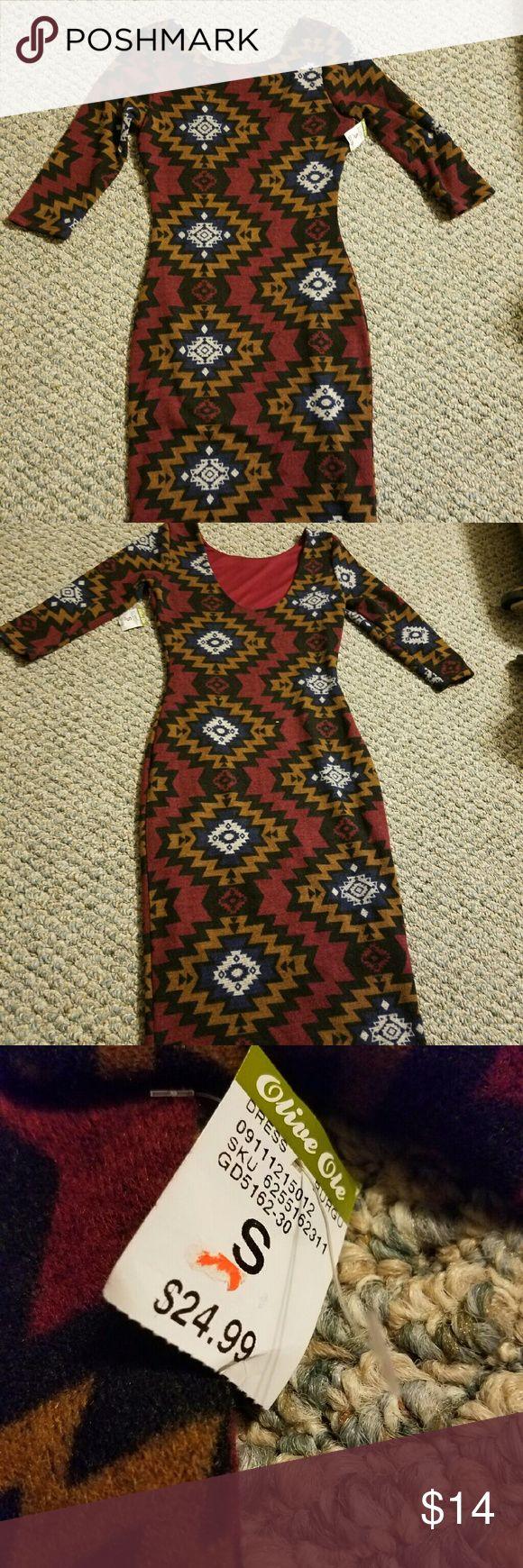 Aztec winter long sleeve wool like dress Never before worn, olive ole Dresses Long Sleeve