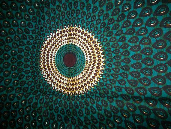 Couleur de tissu africain aqua bleu vert paon par for Couleur bleu paon