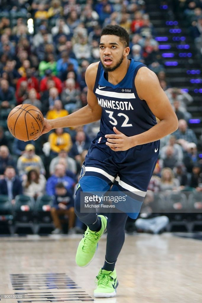 Karl Anthony Towns Of The Minnesota Timberwolves Dribbles The Ball