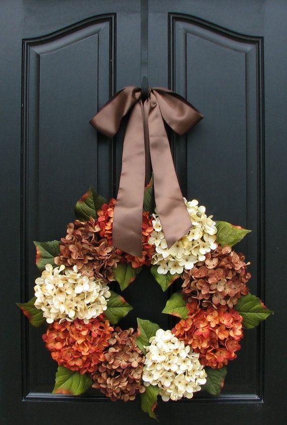 Fall Hydrangea WreathThanksgiving Wreaths, Fall Decor, Autumn Leaves, Fall Autumn, Front Doors, Fall Wreaths, Autumn Wreaths, Hydrangeas Wreaths, Summer Wreath