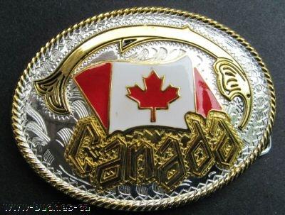 CANADA MAPLE LEAF NORTH NHL ICE HOCKEY FLAG BELT BUCKLE