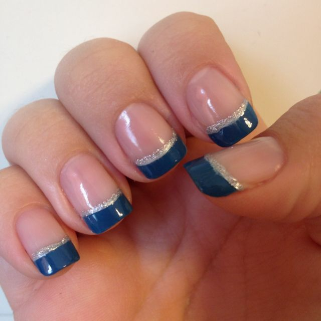 Blue French, with sparkly silver underline.  Fun, yet elegant.