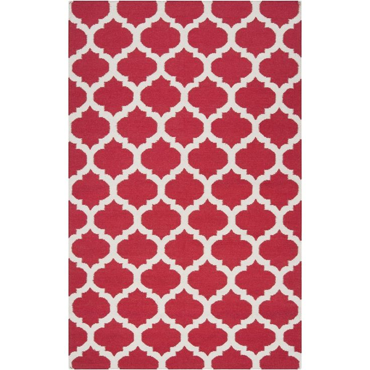 Hand Woven Burnaby Red Wool Rug 9 X 13 Size Dining Room