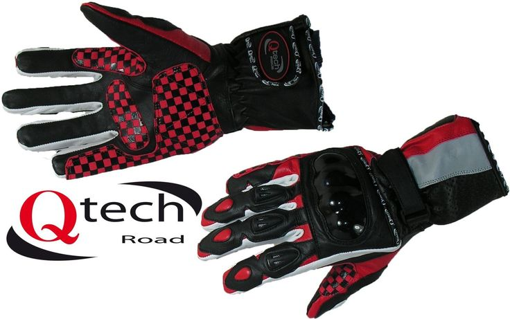 MOTORBIKE Motorcycle Urban Touring Bike Gloves Long Cuff Red & Black | eBay