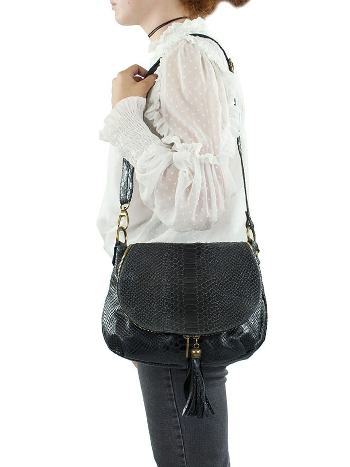 Skórzana torebka w kolorze czarnym - 29 x 24 x 8 cm - Spécial maroquinerie - torebki - Limango