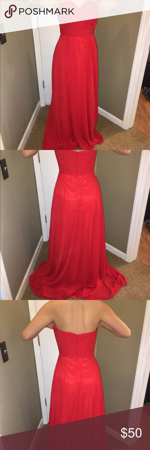 Gorgeous red prom dress Gorgeous red prom dress, never been worn, never hemmed so most likely it would need to be hemmed. I'm not wearing shoes in any of these photos. It's so simple! Perfect for a special occasion. Dresses Prom