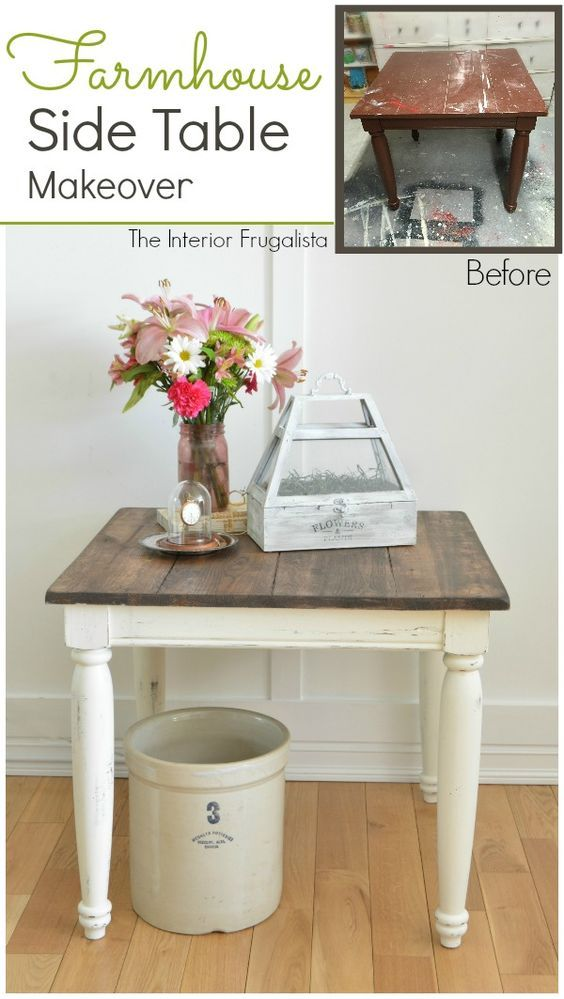 An old battered thrift store table brought back to life with a Farmhouse style makeover using Dark Walnut Stain and White Chalk Paint.  The Interior Frugalista