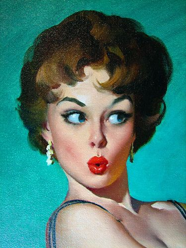 This model was very popular with Gil Elvgren and most likely this image is part of another full size image.  - oh no she didn't! gil elvgren
