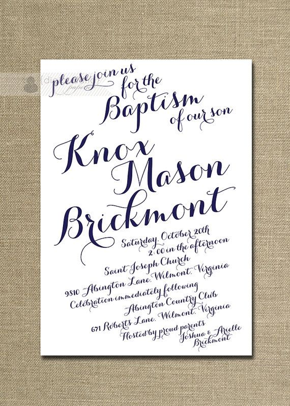 Baptism Invitation Modern Script Calligraphy Christening Invitation Navy Baby Boy Christian Cross DIY Digital or Printed - Knox Collection