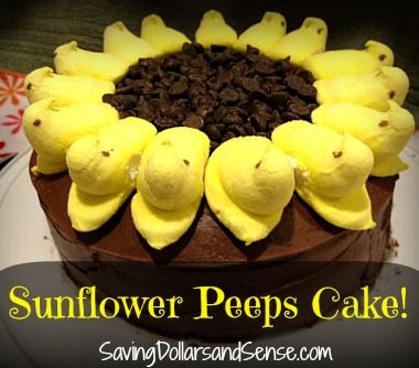Super easy Sunflower Peeps Cake!