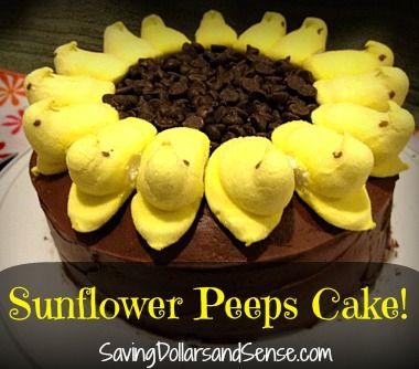 Super easy Sunflower Peeps Cake!