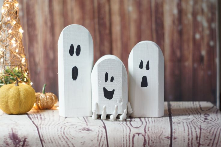 Reclaimed Wood Ghosts Rustic Halloween Decor by GFTWoodcraft