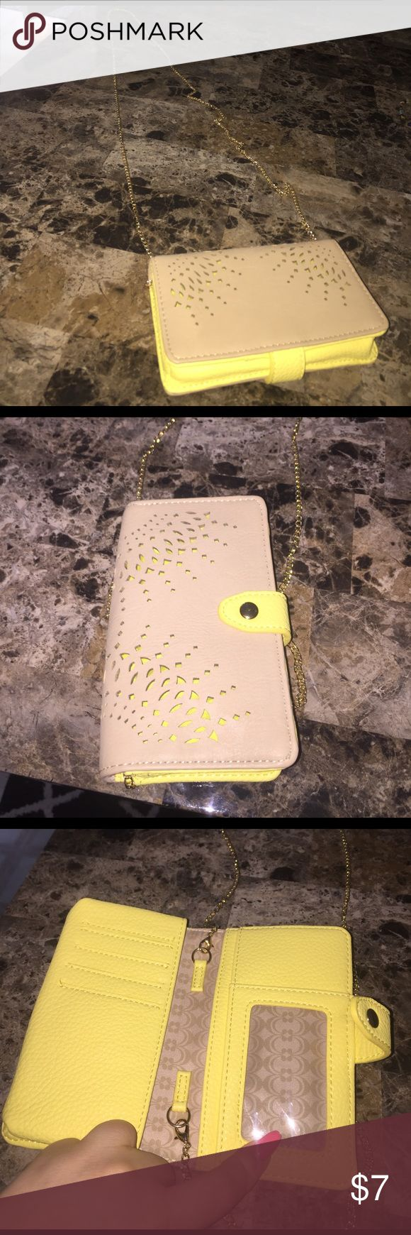 Brown and yellow wallet with chain Great for a night out Charming Charlie Bags Wallets
