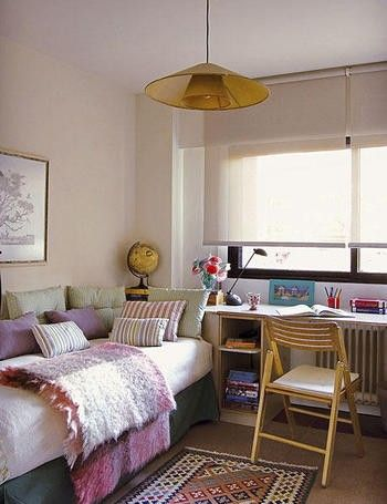 for a dorm room here, but I love the mix of textiles for anywhere...