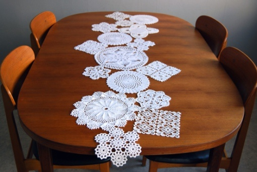 this came out fun and funky. i used the doilies i collected from last years sale-ing season (garge sales) i didn't do a runner but a cover for a small table i have. love it!
