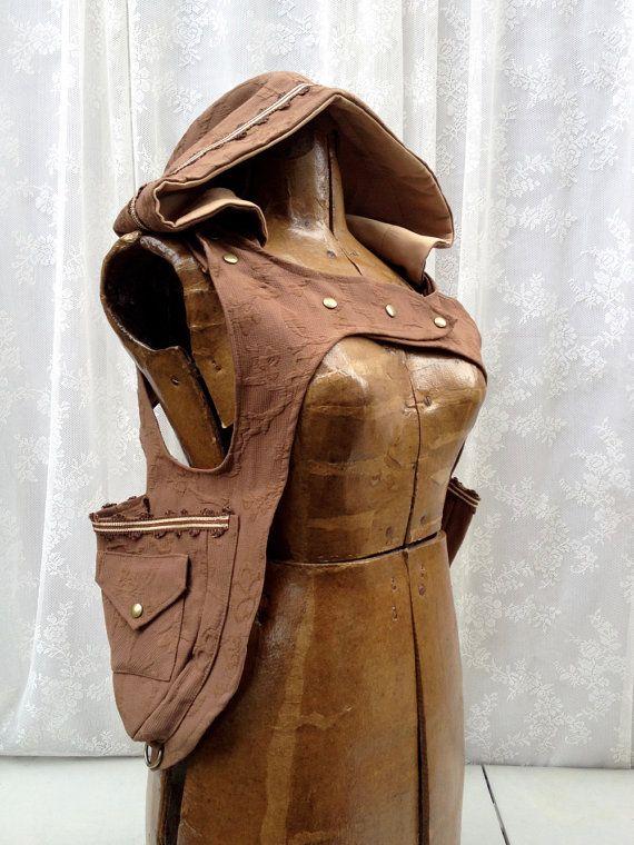 Brown holster hoodie - subtle floral fabric holster - pocket holster vest - desert festival pocket vest - shoulder holsters - Medium
