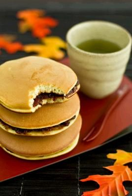 Japanese Desserts. Dorayaki are soft, fluffy pancakes, usually stuffed with red bean paste, nutella or matcha cream.