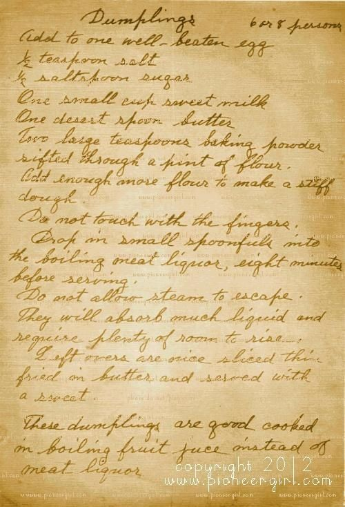 laura ingalls wilder recipes | Laura Ingalls Wilder recipe for dumplings. Ma had cooked an especially ...