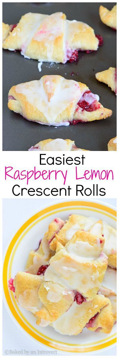 Easiest Raspberry Lemon Crescent Rolls - Super easy crescent rolls filled with sweet raspberries, topped with a lemon glaze. This semi-homemade breakfast requires only 6 ingredients. bakedbyanintrovert.com | @introvertbaker