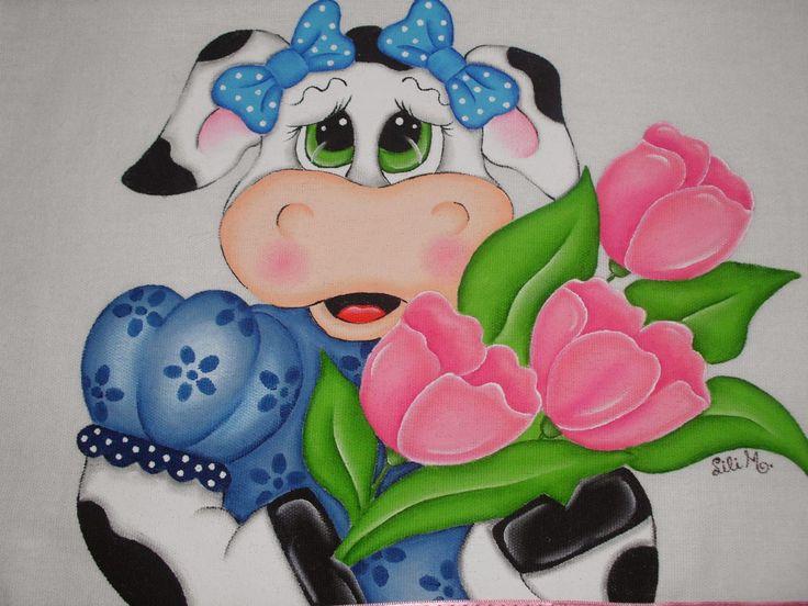 Vaquinha com tulipas, pintura