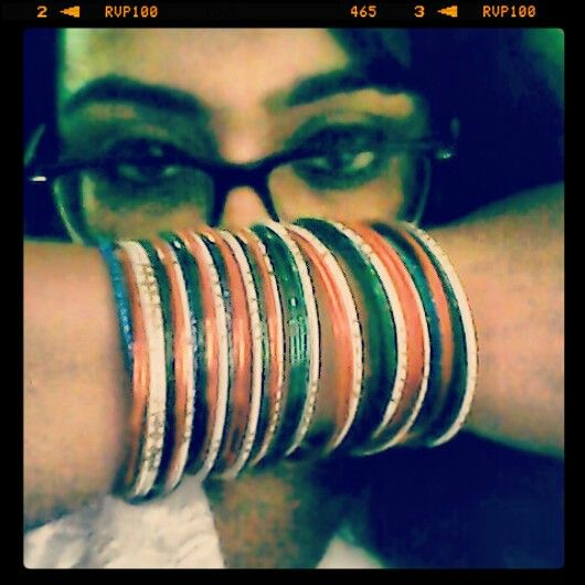 Me with tiranga  (indian tricolor? ) bangles... pre independence day celebrations...