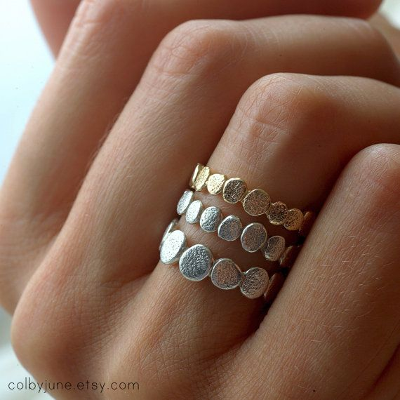 14k Gold Small Pebble Ring  Stacking Ring  by ColbyJuneJewelry