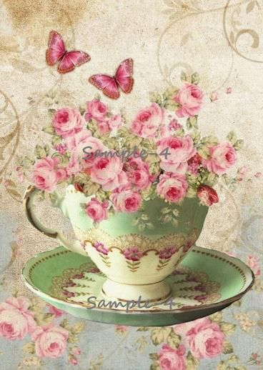 vintage art pink and green tea cup with butterflies and flowers - CARTEL VINTAGE TAZA CAFE Y FLORES