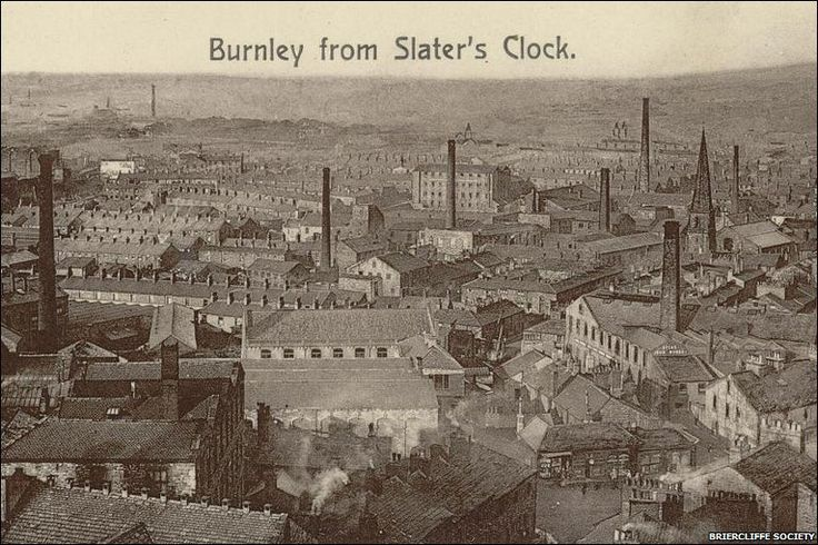 Burnley from Slater's clock. Slater's clock was on Clock Tower Mills on Sandygate. It dates from 1863 but the view from the top of the tower afforded magnificent views of the town - especially during the holidays when this photograph must have been taken