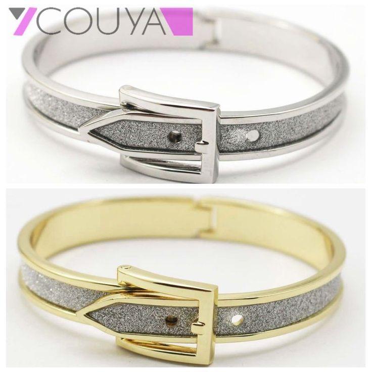 Women Black Gold Silver Bracelet Bangle Open Cuff Silver Belt Buckle Bracelet
