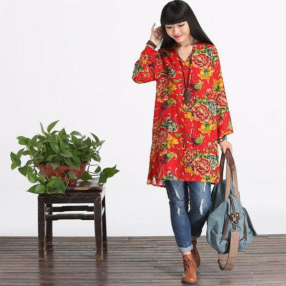 Los montage katoenen Shirt lange Blouse Top jurk voor door deboy2000