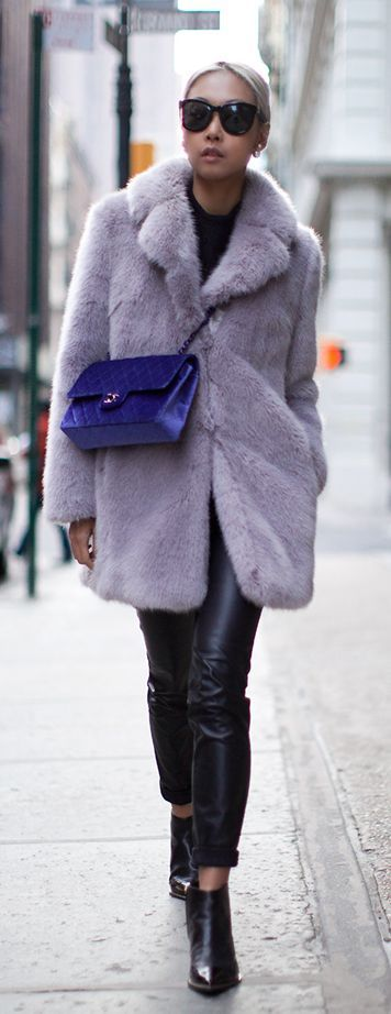 Vanessa Hong is wearing a purple fluffy faux fur coat from Whistles... | Style Inspiration