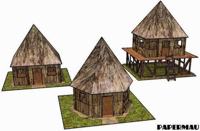 PAPERMAU: Jungle Huts Paper Models For Dioramas, RPG And Wargamesby Papermau…