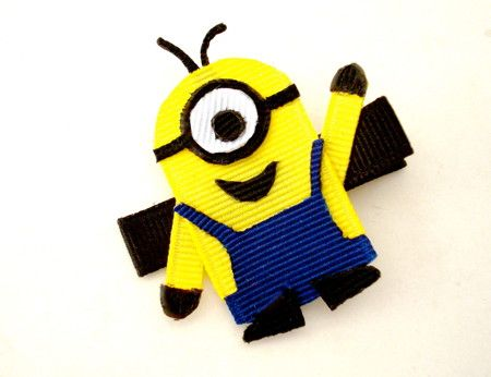Despicable Me Minion-Inspired Ribbon Sculpture Hair Clip by BowSweet