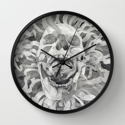 Grey Skull Clock $30.00 different colors available   What i always saw in a blanc paper but never drew.