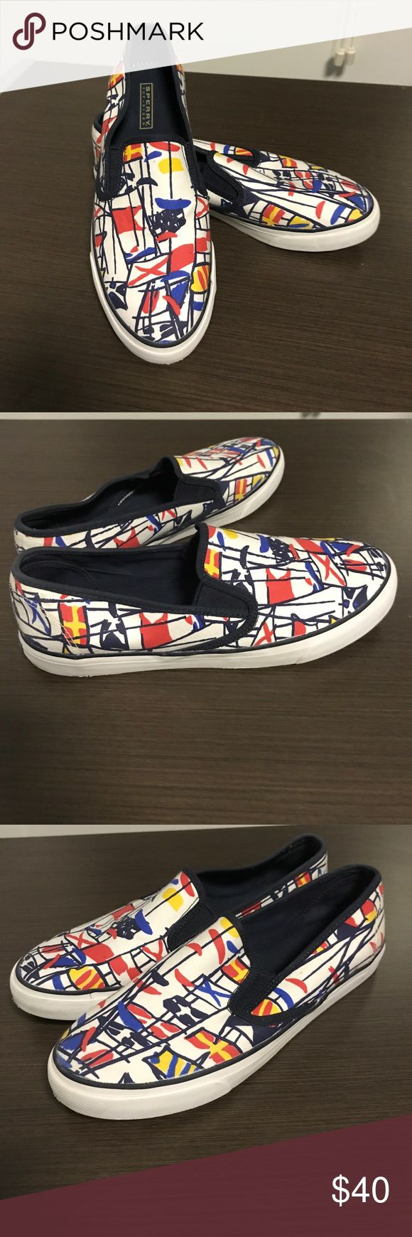 Sperry Nautical Women's Slip on Sneaker Great condition. Fun print. Only worn a few times. Size 8M. Perfect for summer boating! Sperry Top-Sider Shoes Sneakers