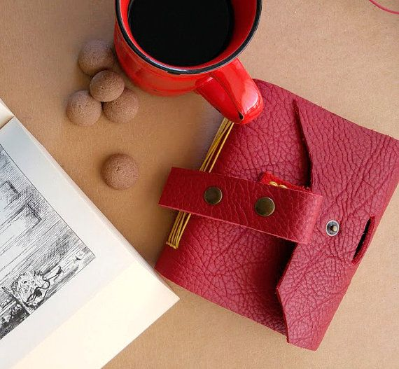 Red dream  handmade leather journal by B2handmadedesign on Etsy