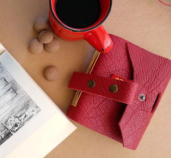 Red dream  handmade leather journal by B2handmadedesign on Etsy