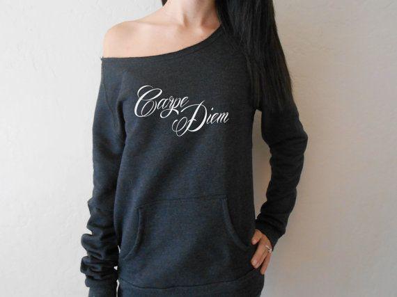 Carpe Diem Off Shoulder Sweatshirt. Wide Neck Sweatshirt. Off Shoulder Sweatshirt. Raw Edge Off Shoulder Eco-Fleece. Slouchy Pull Over. on Etsy, $40.55 CAD