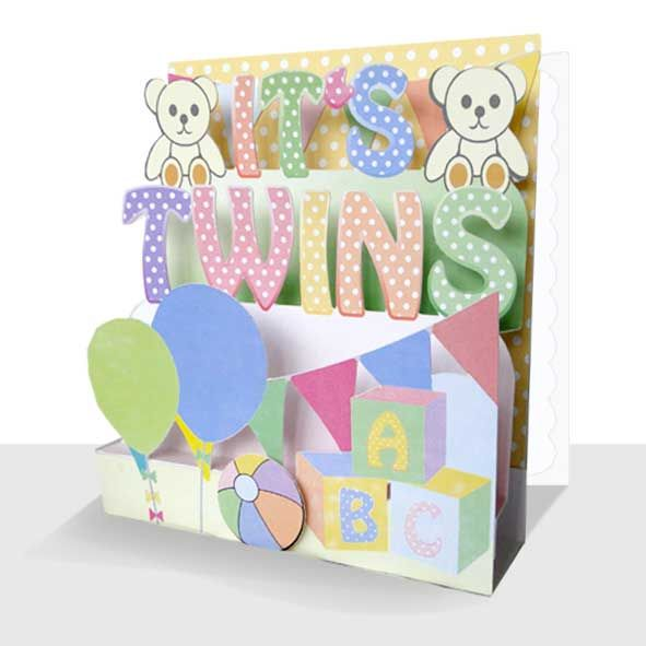 Its Twins New Baby Card - Luxury Handmade 3d Card, Unique Greeting Cards Online, 3d Luxury Handmade Cards, Unusual Cute Birthday Cards and Quality Christmas Cards by Paradis Terrestre
