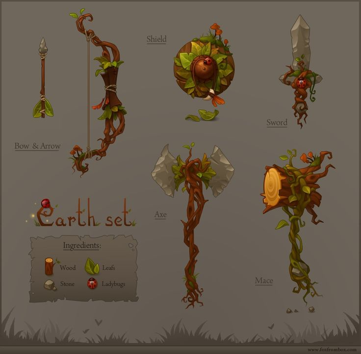 Forest set Picture  (2d, fantasy, weapons, bow, shield, sword, axe)