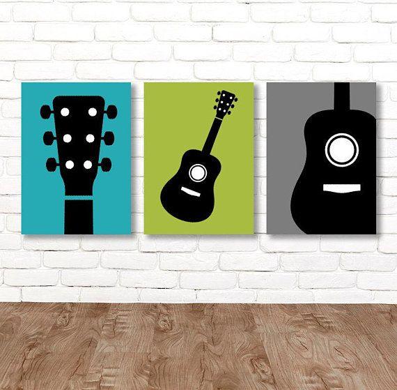 Boy Guitar Wall Art Music Theme Guitar Nursery Decor Boy Guitar Bedroom Pictures Music Rock And Roll Art Music Themed Bedroom Music Bedroom Theme Room Decor