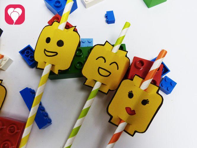 Lego Party - DIY Lego Strohhalme