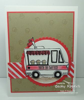 Sale-a-Bration, Stampin' Up!'s hostess and customer appreciation promotion. has some really fun things to offer this year.  One of my favorites is this little truck called Tasty Trucks.  It has a lot
