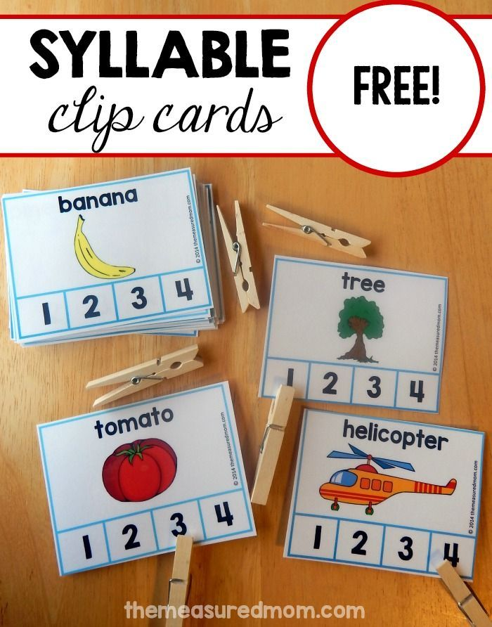 Looking for a fun and effective syllable count activity? Print this set of 60 FREE cards. Have your child clip the number for 1,2,3, and 4-syllable words.