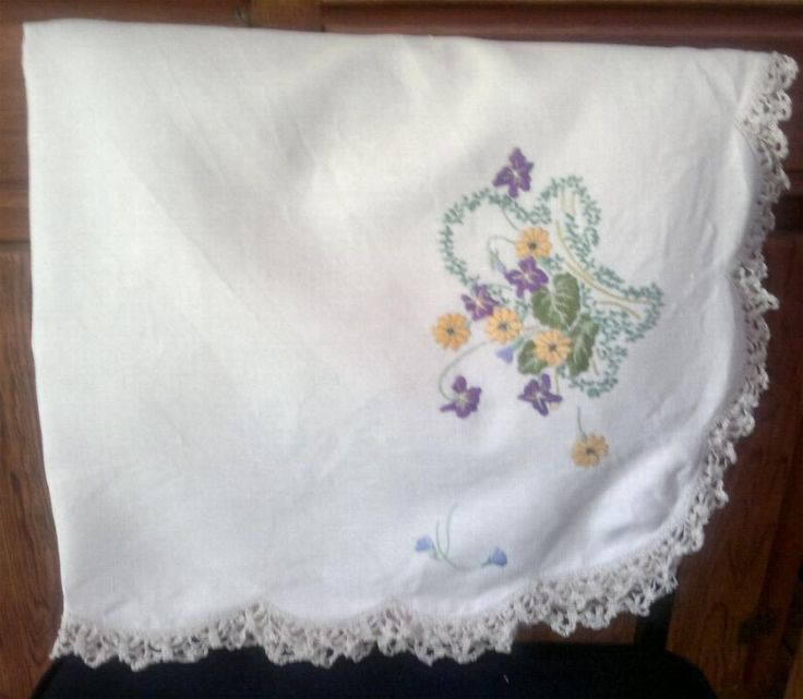Embroiderd Table Cloth by KnitsanStitches on Etsy