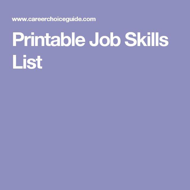 Printable Job Skills List