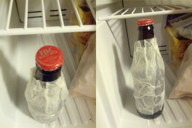 A wet paper towel in the freezer will cool down a beer in two minutes.