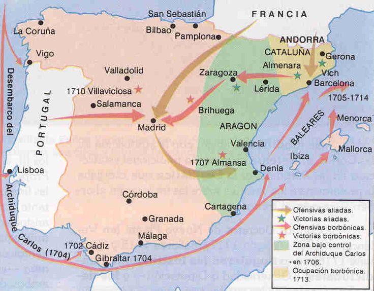 La Guerra de Sucesion Española (1701-1714); en el interior de España.